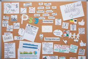 Top View of Office Planning Board With Cards And Notes