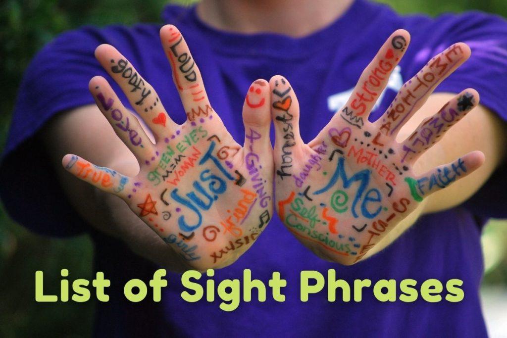Danh sách Sight Phrases - Cụm từ tiếng Anh cho trẻ em